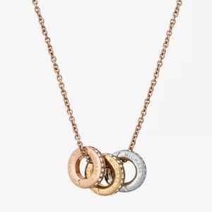 Michael Kors Tri Color Gold Pavé Crystal Necklace